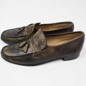 Bruno Magli brown distressed leather loafer tassel